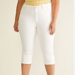 Laura Petite Stretchy White Zipper Detail Capri